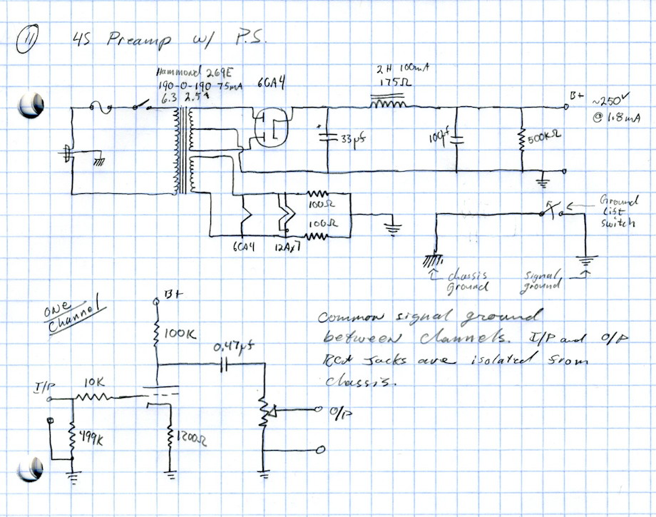 "4S ""Universal"" Preamp and Power Supply Schematic"