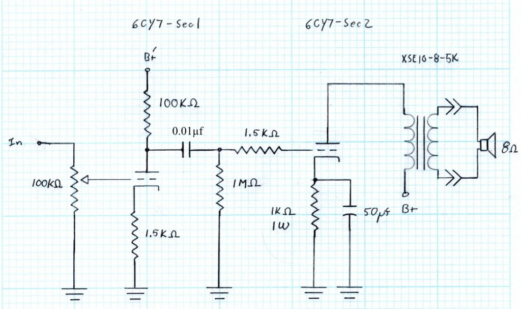 6CY7 Schematic - amp as built